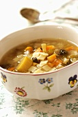 Vegetable soup in a soup bowl