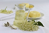 Elderflower syrup and vanilla blancmange