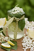 Elderflower lemonade in a jar to give as a gift
