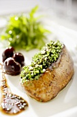Roast goose liver with chive crust and cherry sauce