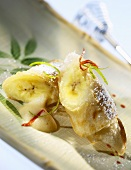 Banana in rice paper with lime sabayon