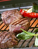 Beef fillet medallions on grill