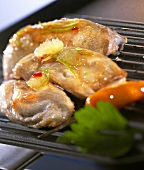 Marinated poussins on the grill