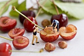 Two little toy men with halved cherries