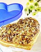 Heart-shaped 'bee-sting' cake
