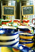Small bowls and jugs on a market stall