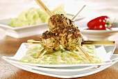 Veal balls with honey and mustard sauce