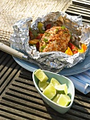 Curried chicken in aluminium foil