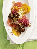Sprout salad with goat's cheese balls and citrus fruit