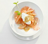 Grapefruit with cottage cheese and honey with sesame seeds