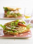 Chicken sandwich with avocado cream