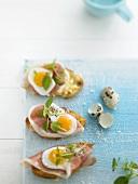 Strammer Maximiliano (Ciabatta topped with Parma ham & egg)