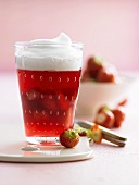 Rhubarb and strawberry compote with milk froth
