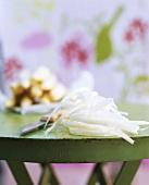Asparagus peelings on a table