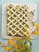 Gooseberry cake with meringue lattice