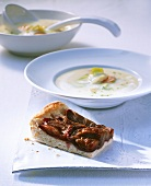 Potato soup with damson cake