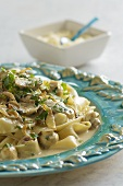Pappardelle with mushroom and Gorgonzola sauce and parsley