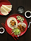 Peking duck with soy sauce and accompaniments (China)