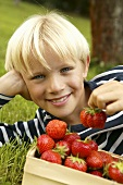 Blond boy lying in grass with a basket of strawberries