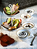 Open sandwiches, hot chocolate and coffee