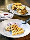 Wholegrain waffles with raspberry quark