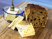 Fruit loaf with butter and cheese