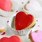 Heart-shaped iced cakes