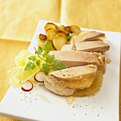 Sauerfleisch (meat in aspic) with fried potatoes