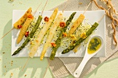 Roasted vegetables on wooden skewers