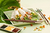 Rice paper rolls filled with bacon and vegetables