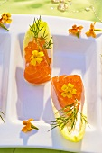 Chicory boats filled with salmon and caviar