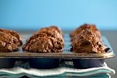 Chocolate muffins in muffin tin