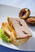 Liver pâté with plums on toast