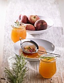 Still life with peach and rosemary jelly