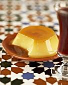 Crème caramel on a plate