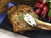 Swedish bread with soft fresh cheese and chives