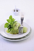 Green asparagus mousse with basil