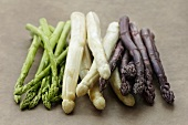 Asparagus spears, green, white and violet