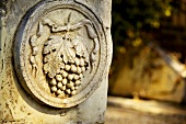 A stone relief in a Tuscany garden