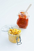 Tomato relish and mango relish