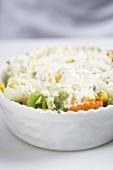 Vegetable-pasta bake in the baking dish