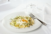 Giant ravioli with egg in a nest of herbs