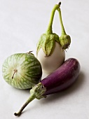 Three different types of mini aubergine