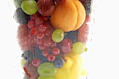 Various types of fruit in a misted glass (close up)