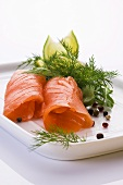Smoked salmon rolls with dill
