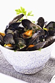 Mussels in a white wine sauce with parsley