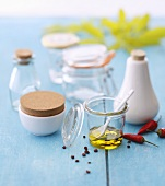 Olive oil, spices, preserving jars and ceramic containers