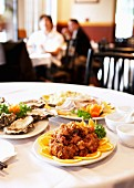 Various dishes in a Chinese restaurant