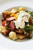Bread salad with tomatoes and mascarpone