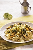 Tagliatelle with grilled chicken breast and a herb and lime sauce